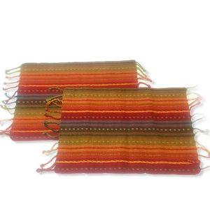 Southwestern Rainbow Fringe Placemats Boho 20x14